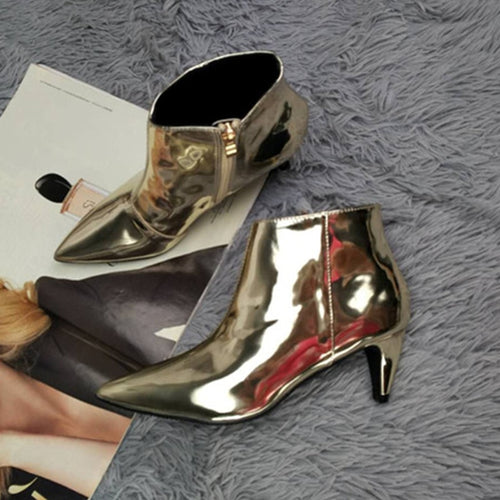 Sexy Ankle Boots Patent Leather Zipper Stiletto Pointed Toe
