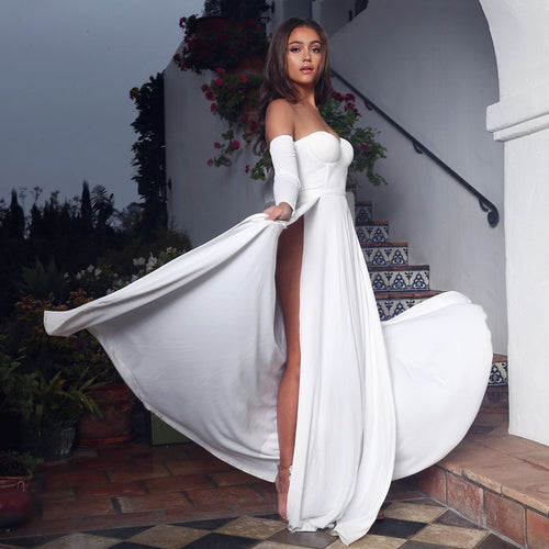 Off Shoulder High Split  Sexy Women Dress