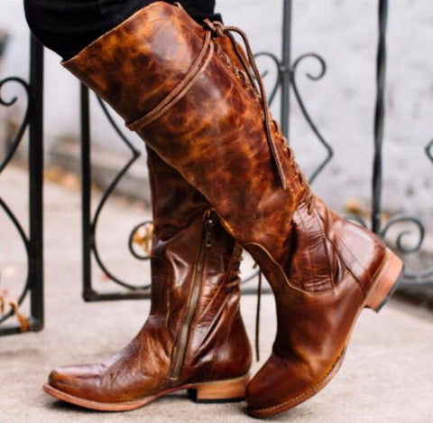 Knee High Chunky Low Heels Gladiator Cross-tied Boots