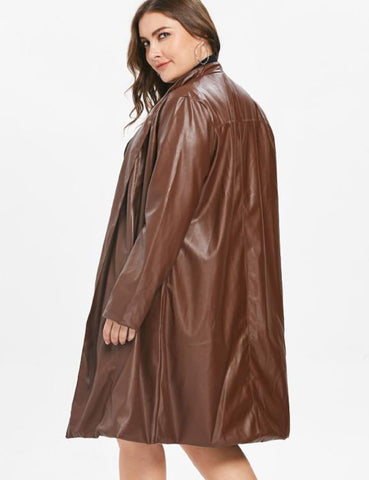 Plus Size Women Leather Long Coat Long Sleeves