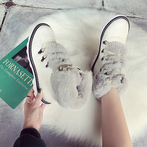 Faux Fur Lace-up Waterproof  Warm Ankle Boots