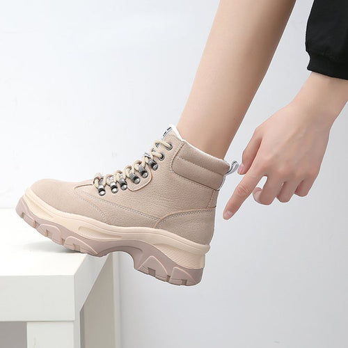 Suede Lace-up Casual Warm Boots