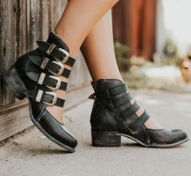 Cut Out Chunky Mid Heels Ankle Boots