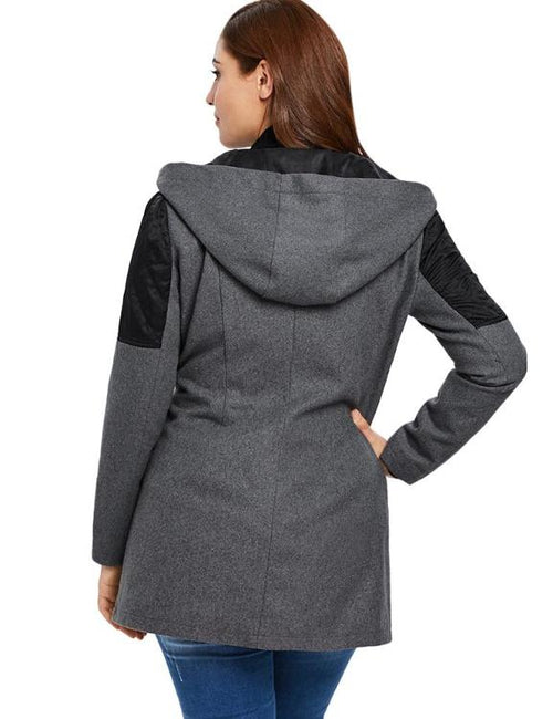 Plus Size Contrast Zippered Wool Coat