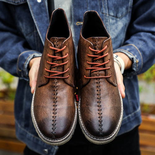 Vintage Style Casual High-Cut Lace-up Warm Boots