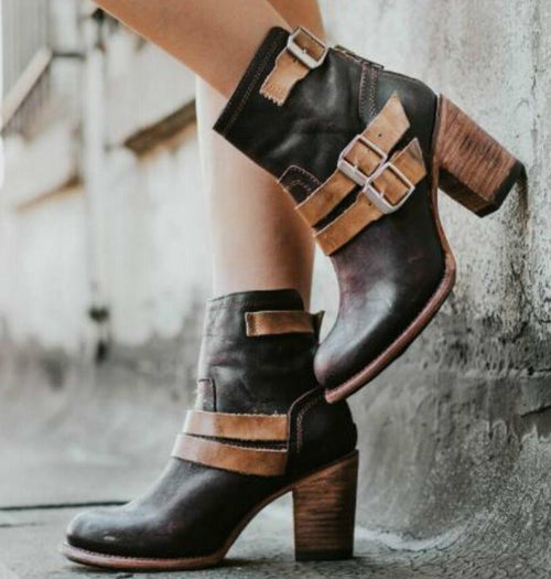Chunky High Heels Gladiator Ankle Boots