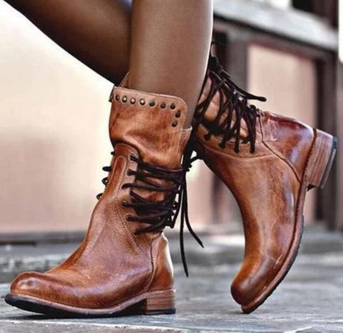 Low Heel Round Toe Mid-calf Lace-up Martin Boots