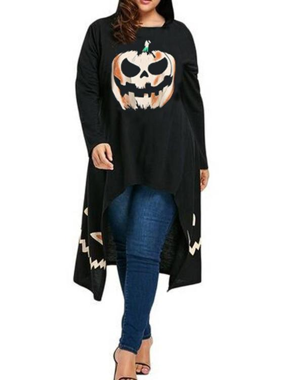 Plus Size Unique Design Halloween Women High Low Hem Hooded Top
