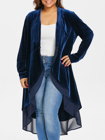 Plus Size Open Front High Low Asymmetrical Longline Velvet Coat