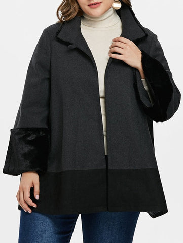 Plus Size Faux Fur Trim One Button Wool Coat