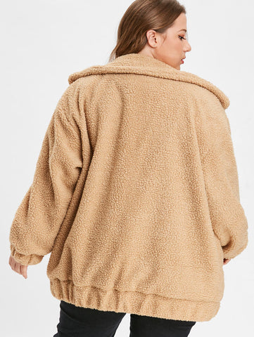 Plus Size Lamb Fur Zipper Fluffy Sherpa Coat