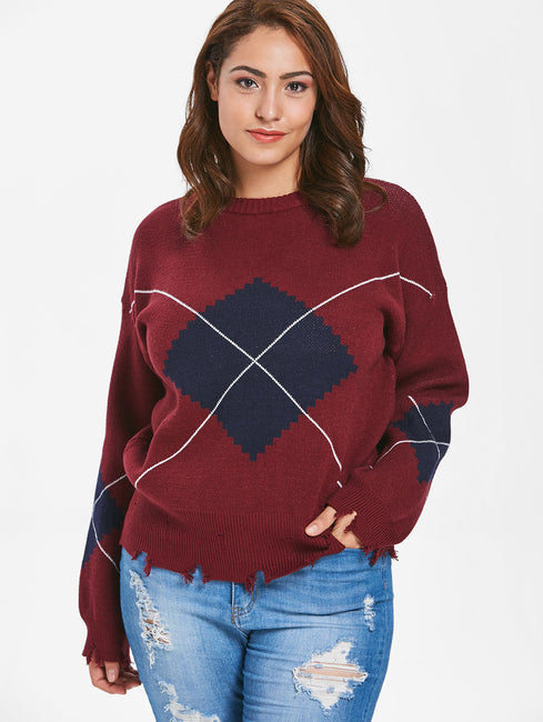 Geometric Pattern Frayed Hem Sweater