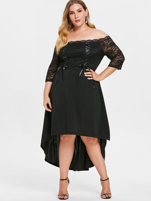 Lace Up High Low Off Shoulder Asymmetric Dress