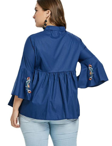 Floral Embroidery Stand Up Collar Flare Sleeve Blouse