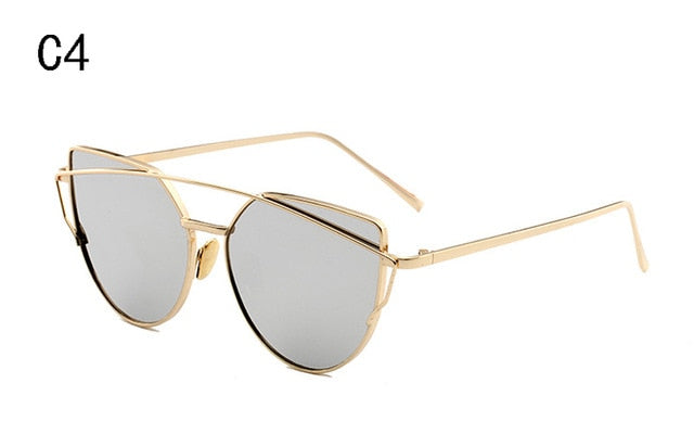 Vintage Women Cat Eye Sunglasses Alloy Frames