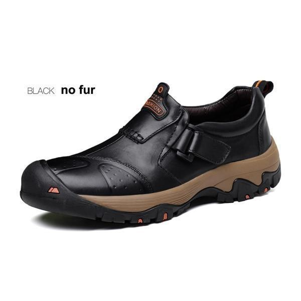 Big Size Winter Cow Leather Hiking Men Shoes Hasp Closure Non-Slip