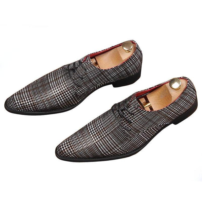 Men Classic Grid Gentleman Pointed Shoes