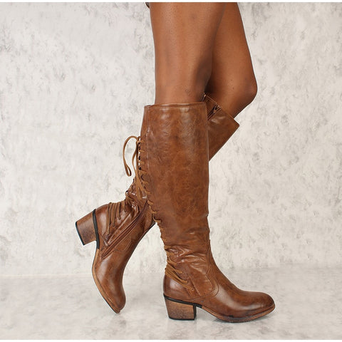Thick High Heels Cross Tied Zipper Mid Boots