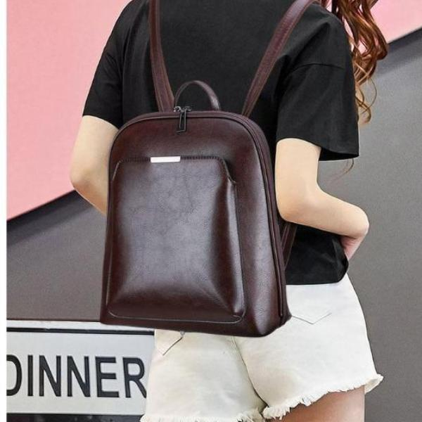 Vintage Backpack Leather Bag Double Zippers Solid Color
