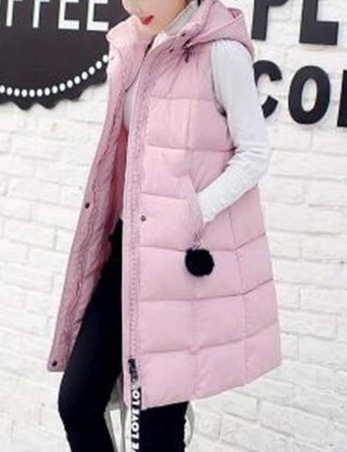 Plus Size Down Cotton Medium Long Thick Warm Vest