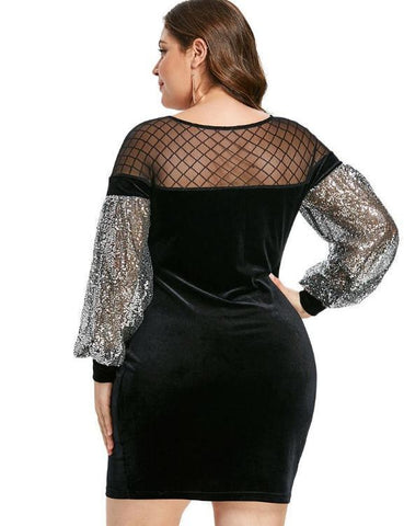 Plus Size Mesh Panel Sequins  Velvet  Bodycon Dress Women