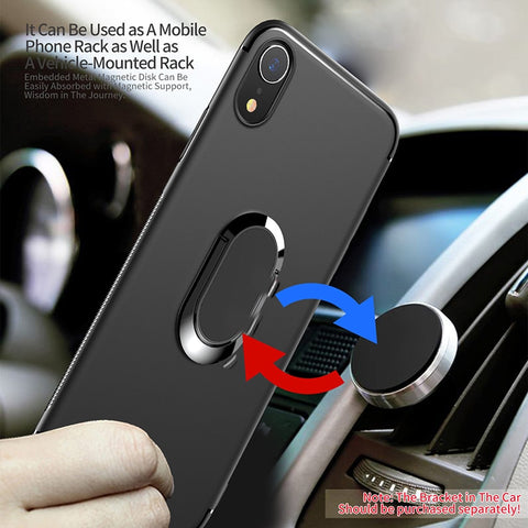 With Finger Ring Kickstand Silicone Case For iPhone XS Max