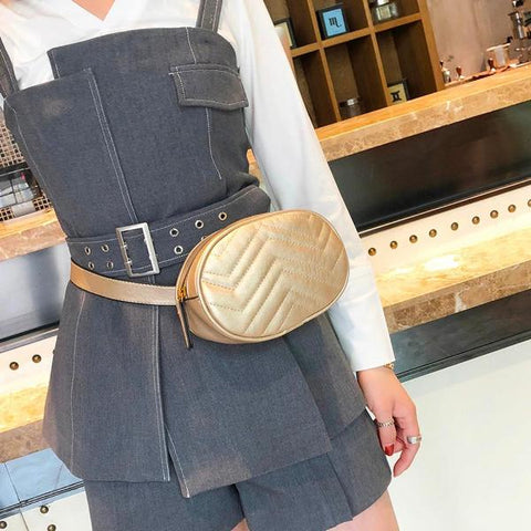Leather Waist Bag Solid Color Zipper Closure