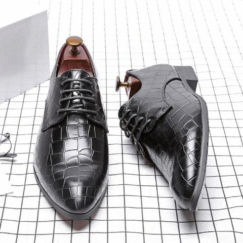 Large Size British Men Leather Shoes Lace-Up Pointed Toe