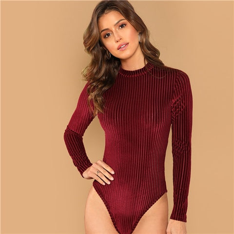 Autumn Skinny Women Bodysuit Plunging Neck Full Sleeves