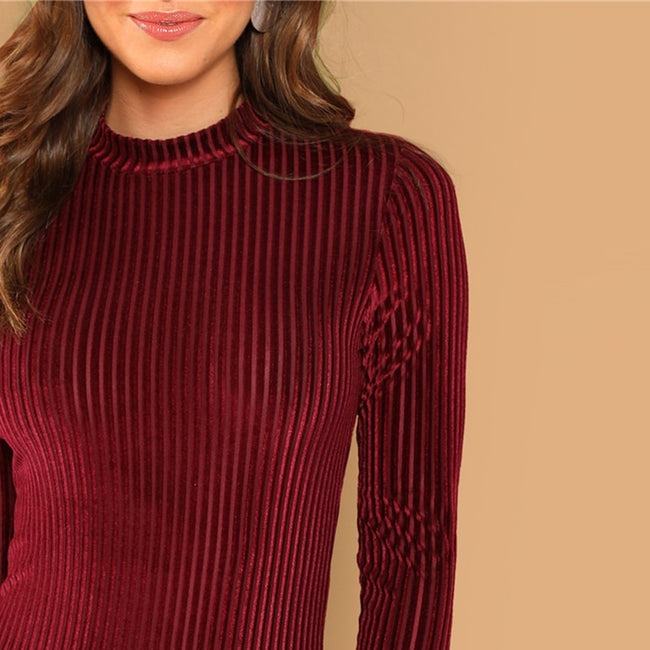 Lady Mock-Neck Cord Stand Collar Mid Waist Long Sleeve Bodysuit