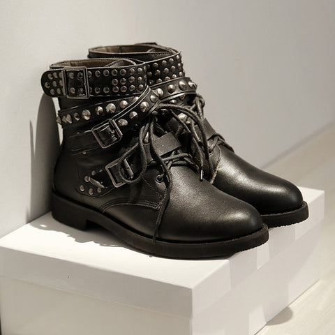 Motorcycle Rivet Decoration Low Heel Fashion Gothic Boots