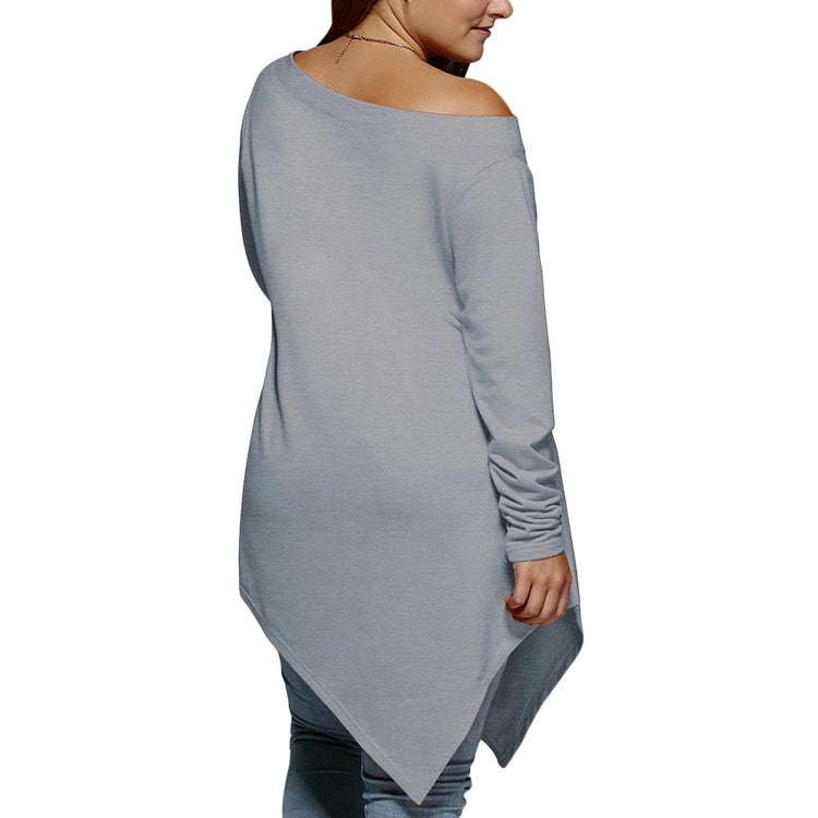 Plus Size Christmas Asymmetrical T-Shirt Long Sleeves Cold Shoulder