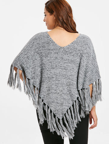 Plus Size Fringe Hem Sweater Asymmetrical Scoop Neck