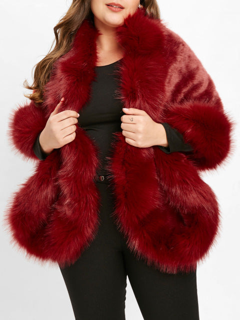 Winter Plus Size Women Coat Collarless Long Sleeve Faux Fur