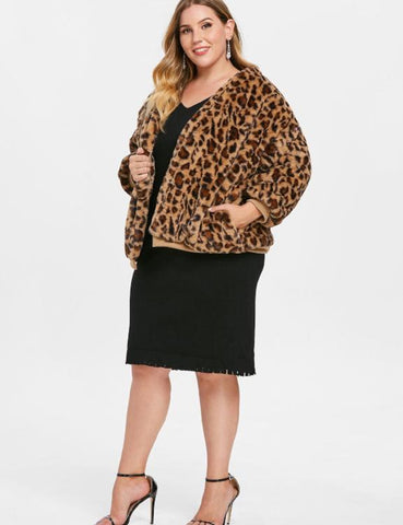 Plus Size Casual Leopard Faux Fur Coat Long Sleeves