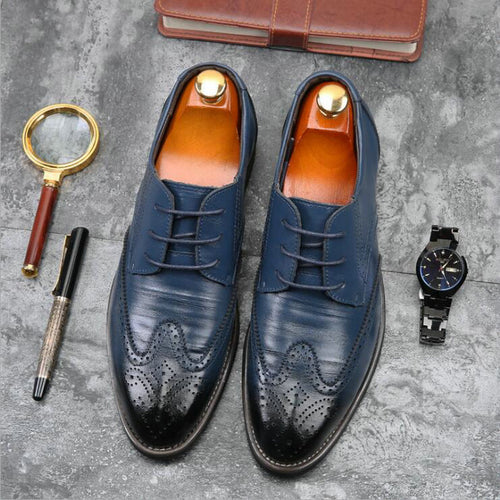Luxury Men Brogue Shoes Genuine Leather Business