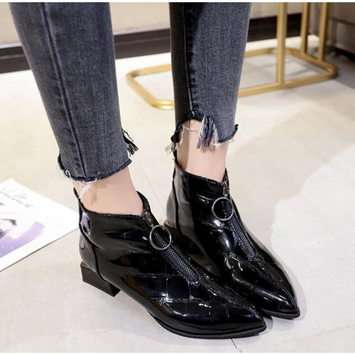 Women Ankle Boots Fashion Ring Zipper Patent Leather Pointed Toe