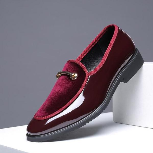 High Quality Men Fur Shoes Pointed Toe Solid Color