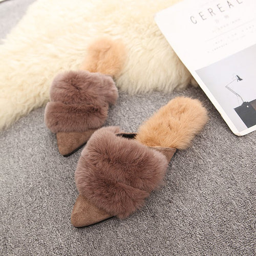 Mules Shoes Furry Woman Slippers Pointed Toe Slides