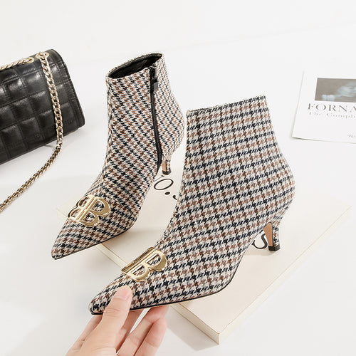 Plaid Woman Suede Ankle Boots Kitten Low High Heels