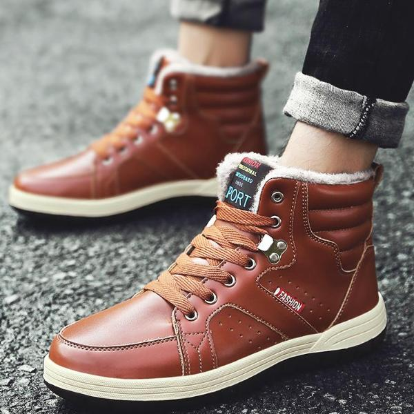 Casual Men Cotton Boots Lace-Up Plus Velvet