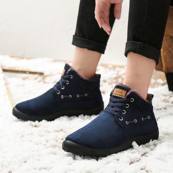 Casual Men Ankle Boots Lace-Up Solid Color