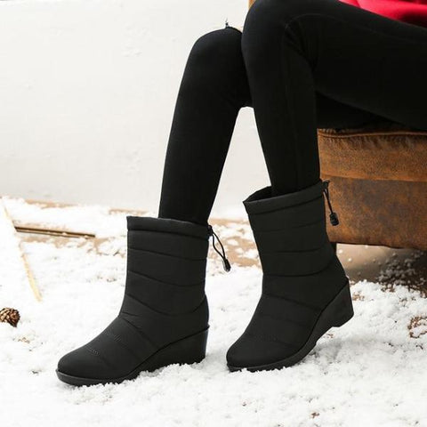 Women Ankle Fur Boots Fringe Slip-ON Round Toe