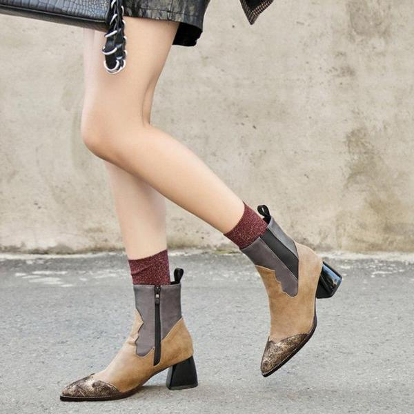 Casual Women Ankle Boots Pointed Toe Zipper