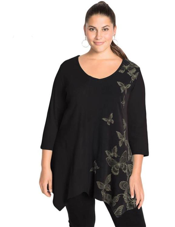 Plus Size Loose T-Shirt V-Neck Butterfly Print