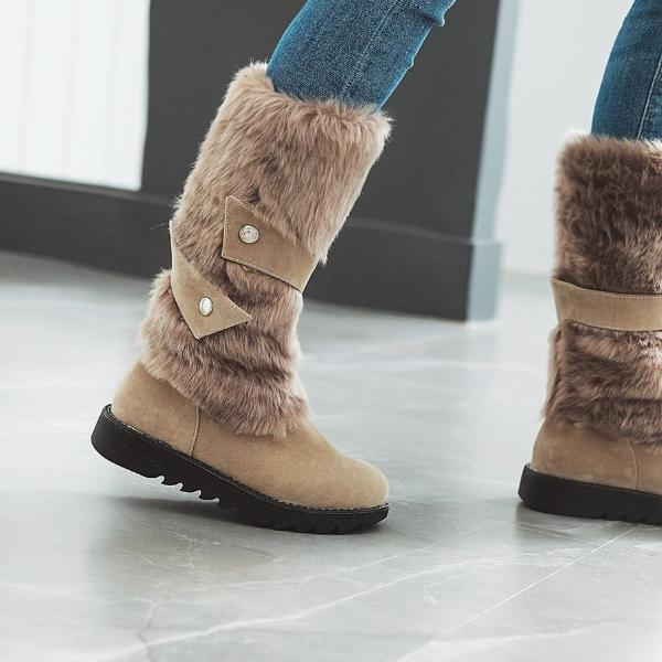 Big Size Women Snow Boots Fur Mid-Calf Round Toe