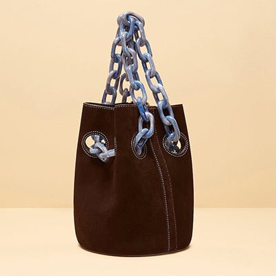 Casual Women Acrylic Chains Bucket Bags No Closure Pure Color