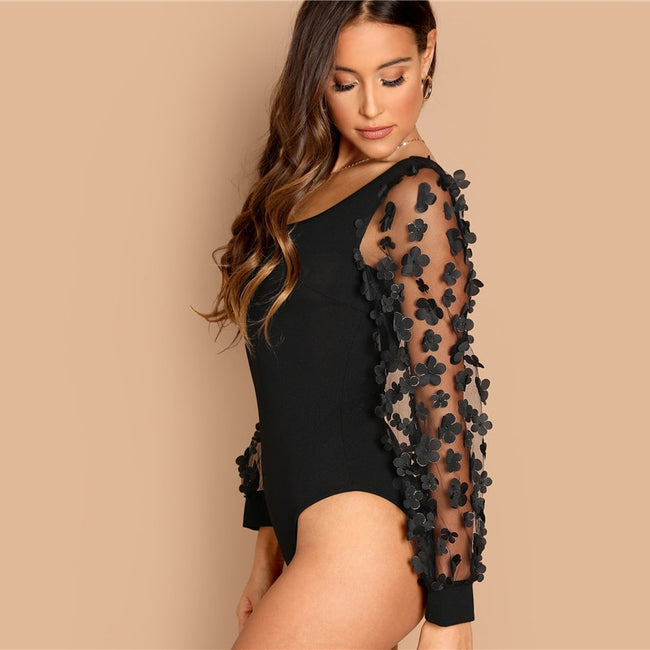 Black Mesh Sleeve Square Neck  Women  Plain Elegant Bodysuits