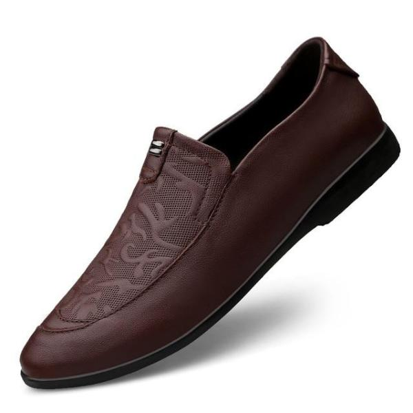 Business Soft Men Leather Slip-On Shoes Solid Color