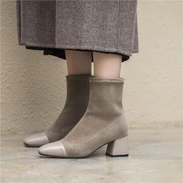 Luxury Elastic Women's Boots Square Heel Pure Color